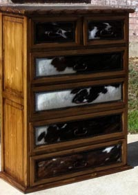 Cowhide Western Chest of Drawers