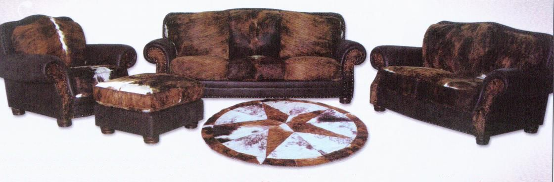 Western Style Cowhide Home Furniture With Hair On