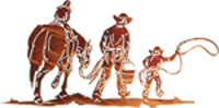 cowboy and children metal wall art hangings