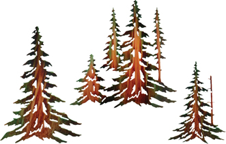 metal wall hangings of trees