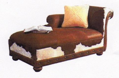 Cowhide furniture western style furniture country western for Chaise lounge cowhide