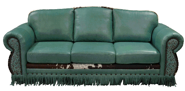 Genuine Full Grain Leather Couch with Tassels, Fringe