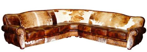 Western Cowhide Sectionals. Rustic Leather Conversation Pits $11,256.00.  Texas Web Store