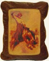 OLD WESTERN THEME LEATHER DESIGNER COWHIDE PILLOW ACCENTS / COWGIRLS