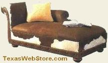 WEstern Style Living Room / Bedroom Furniture / Chaise Lounge with Hair on Hide Leather Cowhide