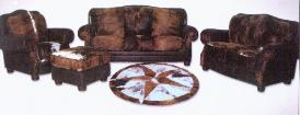 Western Style Cowhide Home Furniture / With Hair On