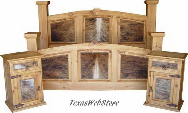 COWHIDE BEDS, COWHIDE BEDROOM FURNITURE, FREE SHIPPING