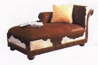 COWHIDE CHAISE LOUNGE / HAIR ON HIDE FURNITURE
