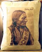 NATIVE AMERICAN INDIAN THEME LEATHER DESIGNER PILLOWS - SITTING BULL