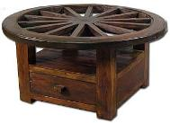 ACCENT YOUR COUNTRY WESTERN THEME HOME DECOR WITH THESE HIGH QUALITY  GENUINE TEAK WOOD WAGON WHEEL COFFEE TABLES